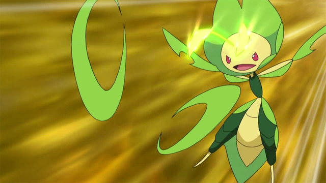 A pokemon mantis using its magical properties to hurl bladed leaves.